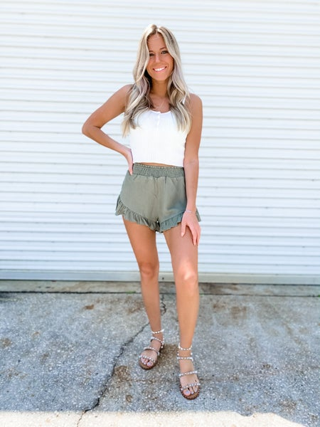 I Frilly Love You Olive Shorts