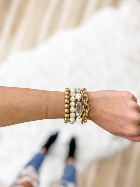 White Faceted Bead And Metal Chain Bracelet Set