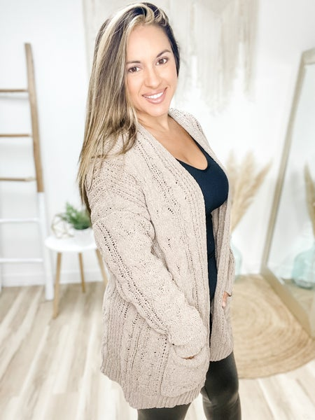 Forever Unbothered Truffle Cable Knit Cardigan