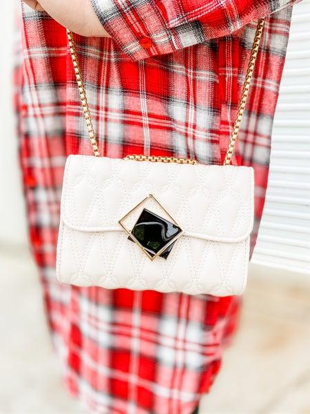 White Embossed Square Buckle Shoulder Bag