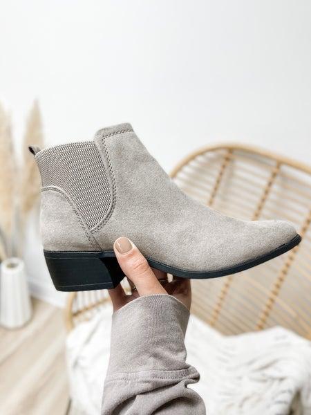 Grey Suede Slip On Bootie