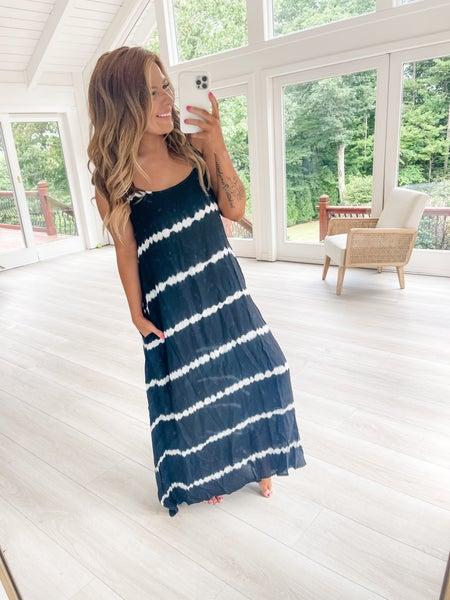 FLASH SALE- Crossing The Line Black Tie Dye Maxi Dress