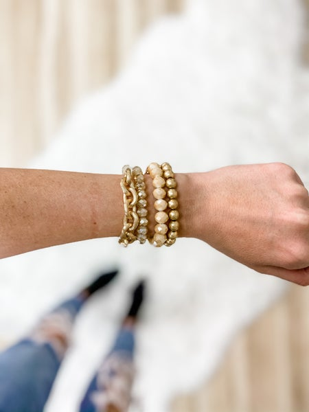 Nude Faceted Bead And Metal Chain Bracelet Set