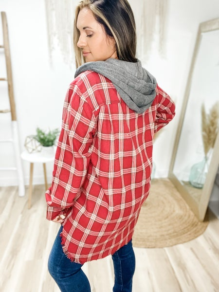 Headed In The Right Direction Red Plaid Top