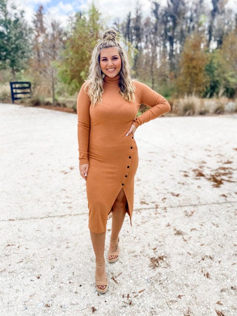 Long For You Camel Turtleneck Dress