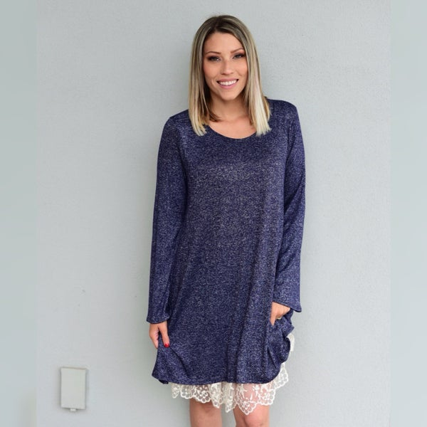BLUE DRESS, LACED BOTTOM