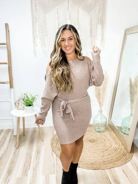 Sweet Spot Latte Belted Sweater Dress