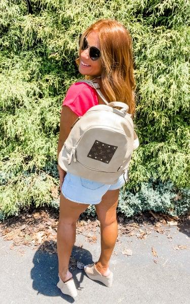 Upcycled LV Beige Backpack