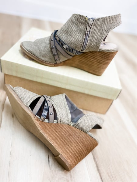Taupe Multi Strap Detail Wedge