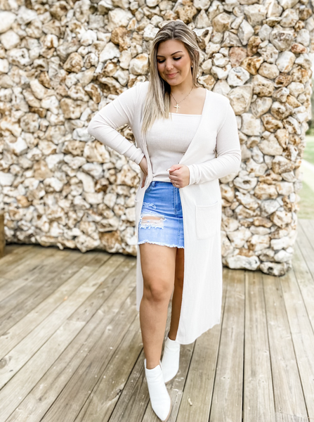 Eyes Set On You Oatmeal Ribbed Cardigan With Cami