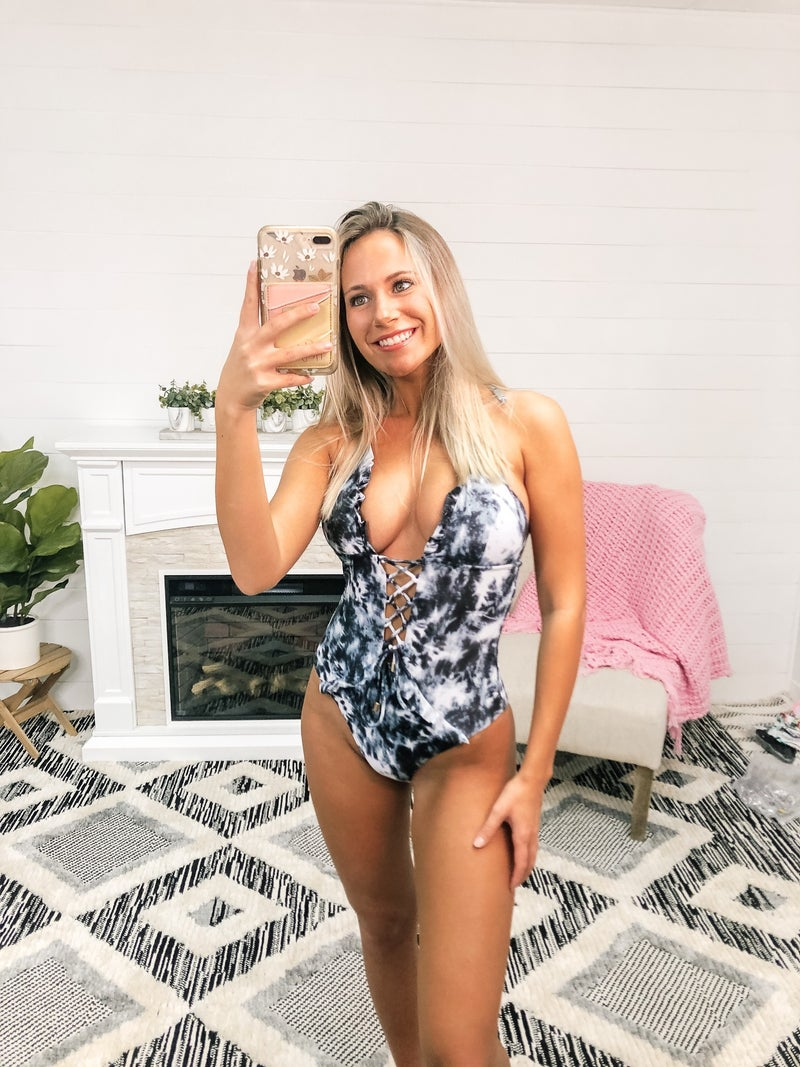 Green Tie Dye Lace Up Front Plunging V One Piece Swimsuit