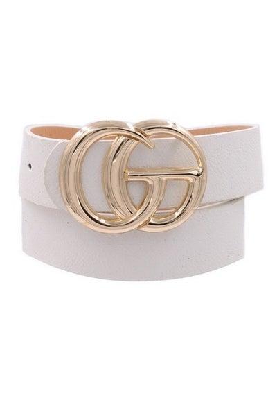 White Gold Letter Accent Belt