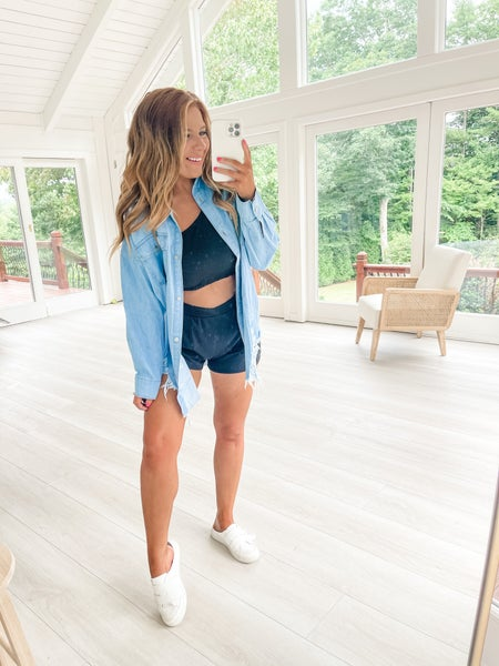 Bend The Rules Distressed Chambray Top
