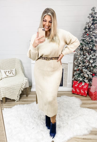 In It For The Long Haul Oatmeal V Neck Sweater Dress