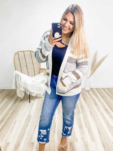 Stand By You Oatmeal Striped Cardigan