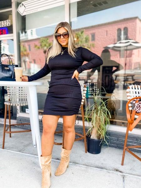 Humble Attitude Black Ruched Bodycon Dress
