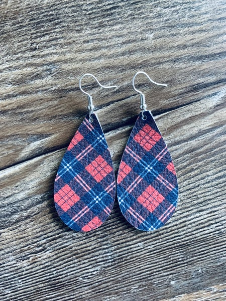 Red and navy plaid earrings