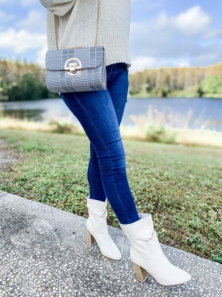 Grey Plaid Shoulder Bag