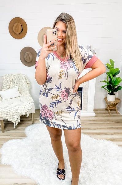 Test My Luck Beige Floral Dress
