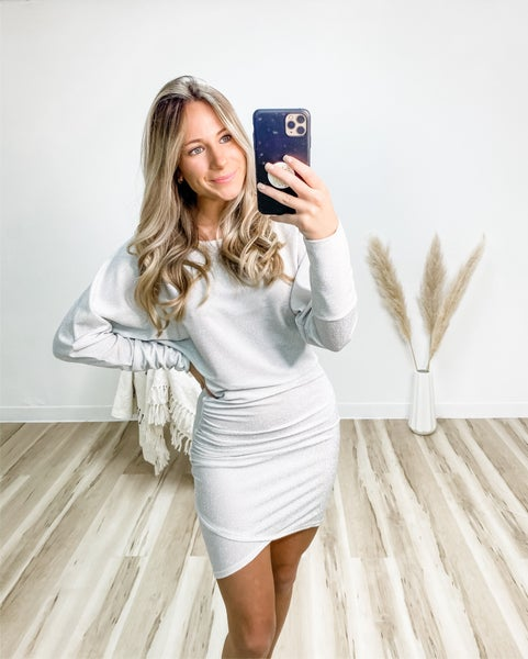 Shine In The Dark Silver Long Sleeve Ruched Dress