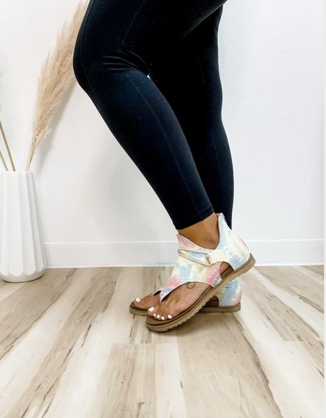 Pastel Print Zip Up Sandal