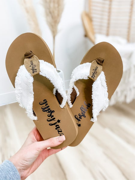 White Frayed Flip Flop