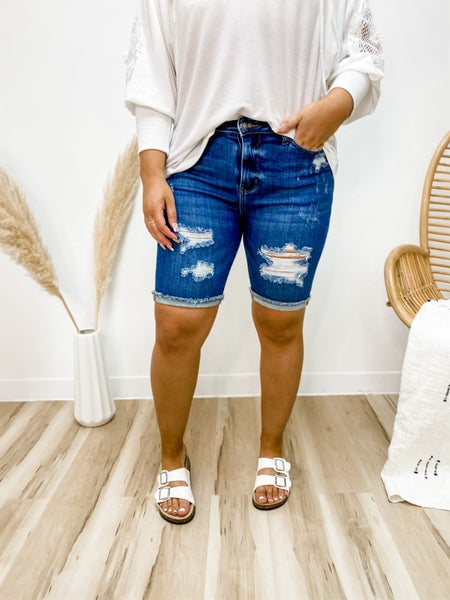 Change Of Pace Distressed Bermuda Judy Blue Shorts