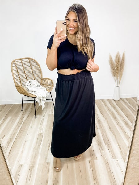 Thoughts Of You Black Maxi Skirt