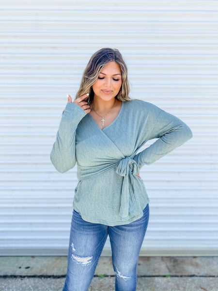 The Tie's The Limit Sage Ribbed Side Tie Top