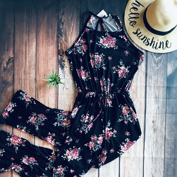 BLACK FLORAL JUMPSUIT WITH WAISTBAND
