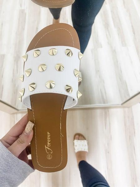 Spike Studded White Single Strap Sandal