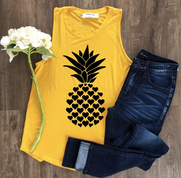 Pineapple Heart Graphic Tank
