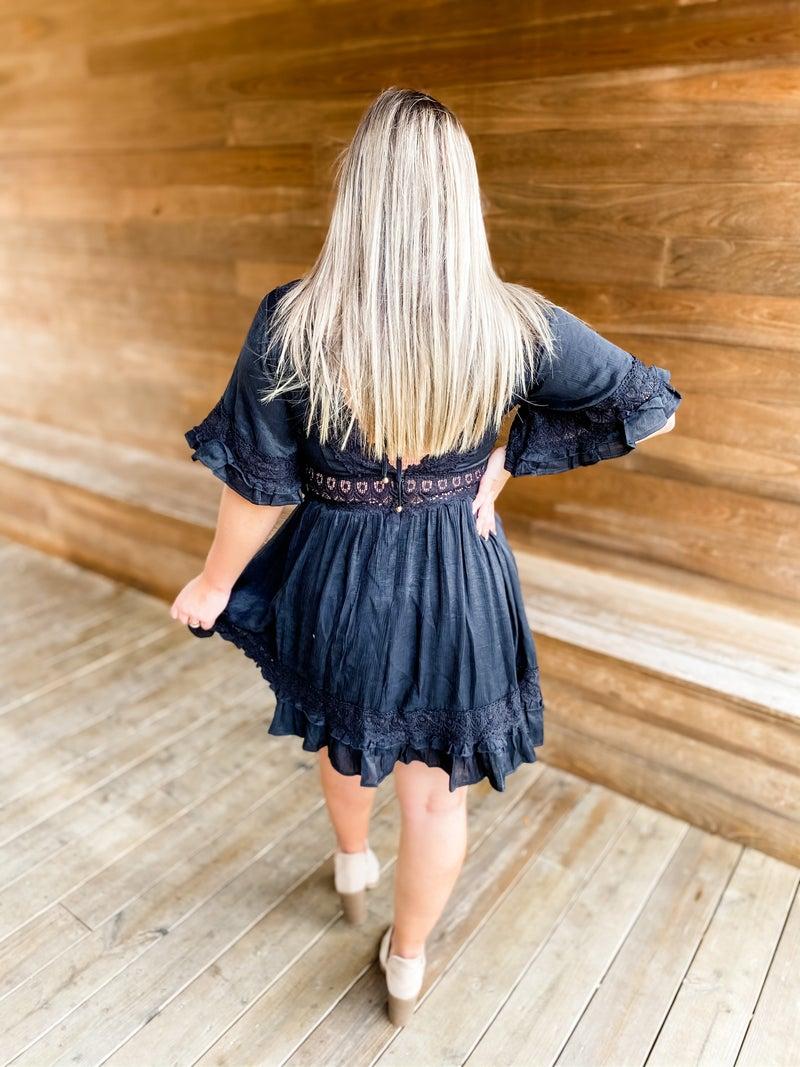 Lace Of Spades Black V Neck Dress