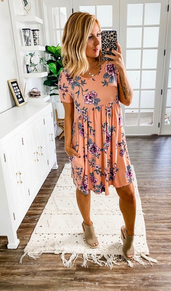 Here Forever Peach Floral Dress