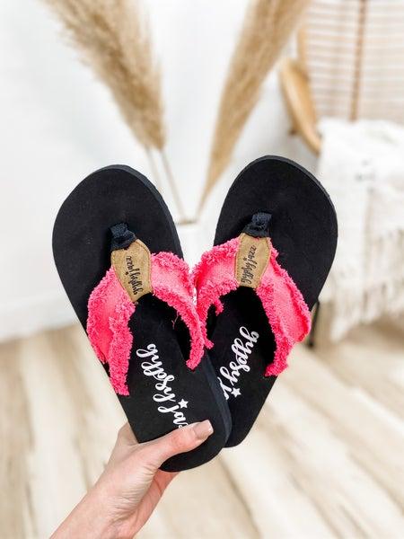 Hot Pink Frayed Flip Flop