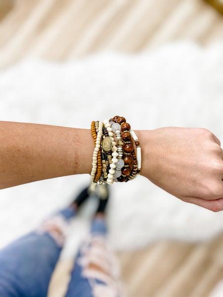 Brown Assorted Bead Bracelet Set