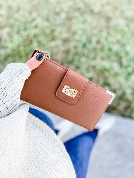 Brown Bi-fold Crossbody Wallet