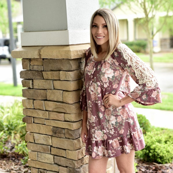 WINE FLORAL, CROCHET SLEEVES, RUFFLE SLEEVES AND BOTTOM