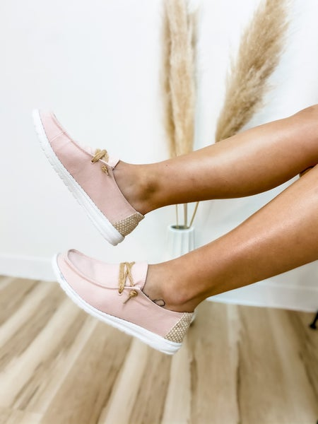 Blush and Tan Laced Slip On Shoe