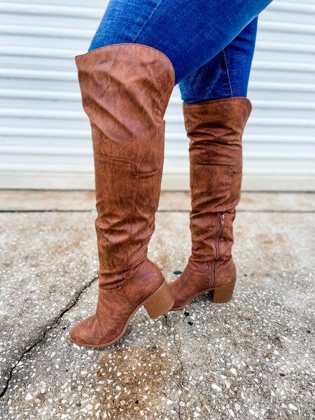 Cognac Distress Tall Boots