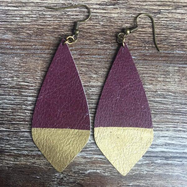 Burgundy gold drop earring