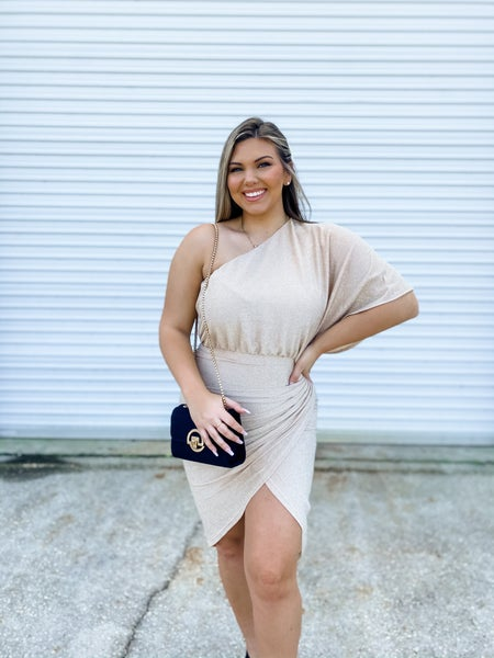 Cheers To Us Beige Sparkle One Shoulder Dress