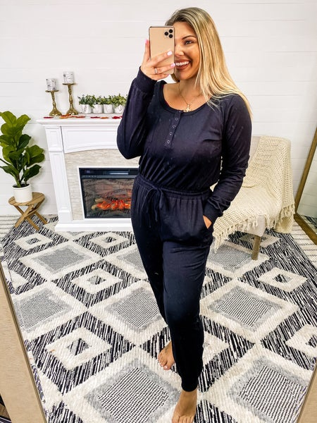 Staying Classy Black Button Up Jumpsuit