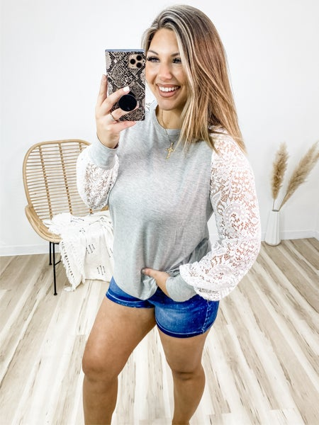 Heart On Your Sleeve Grey Lace Long Sleeve Top