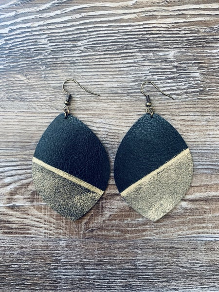 Black and gold with stripe earrings