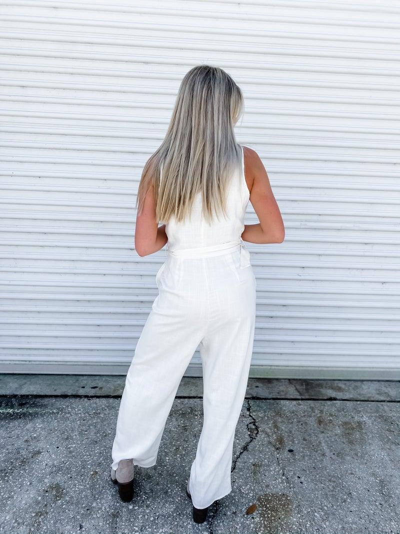Office Crush Cream Sleeveless Jumpsuit