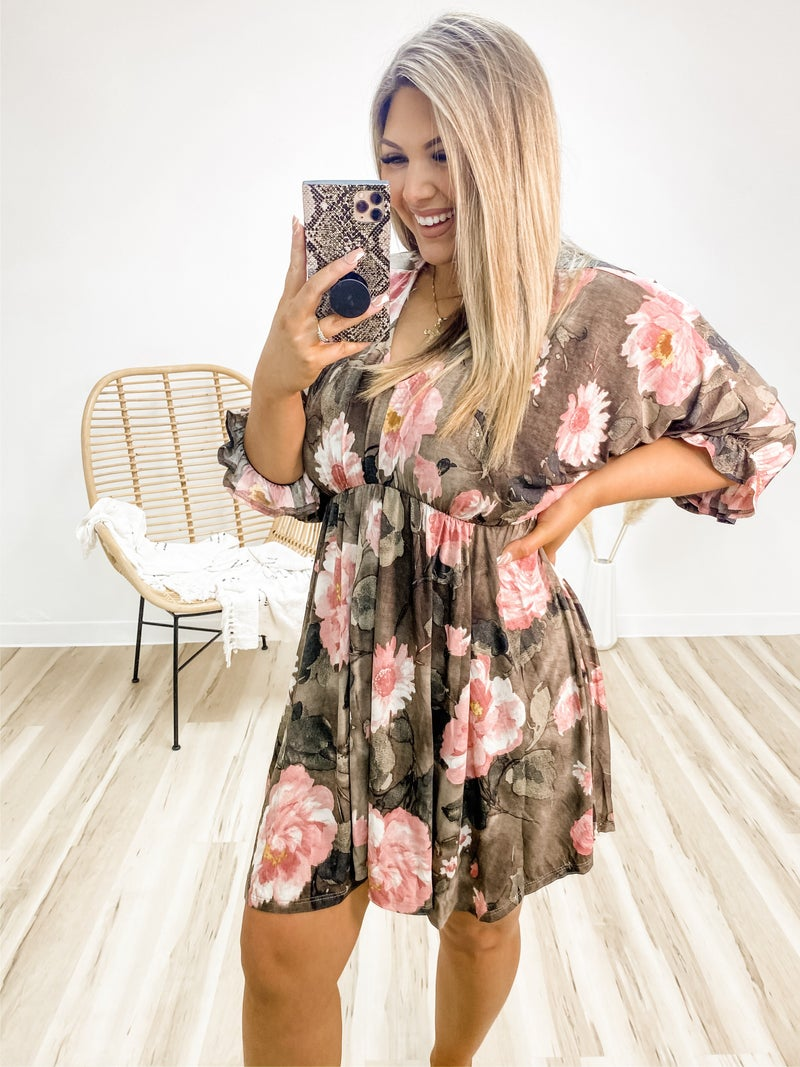 With True Grace Brown Floral Dress