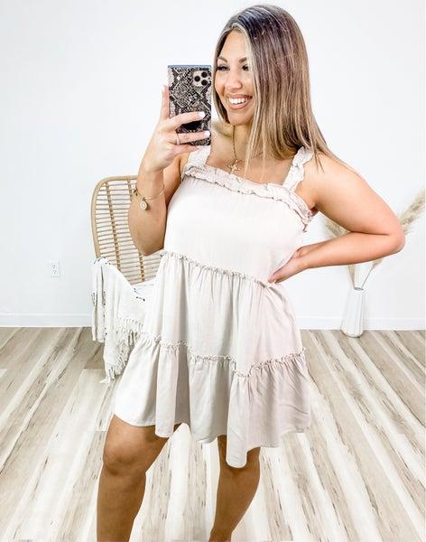 In Tiers Taupe Ruffle Mini Dress