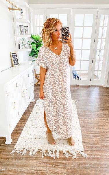 Wishing You Well Leopard Print Maxi Dress