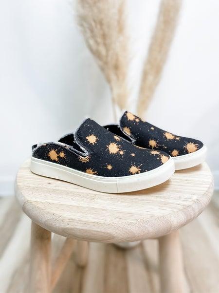 Bleach Splatter Black Backless Slip On Shoe